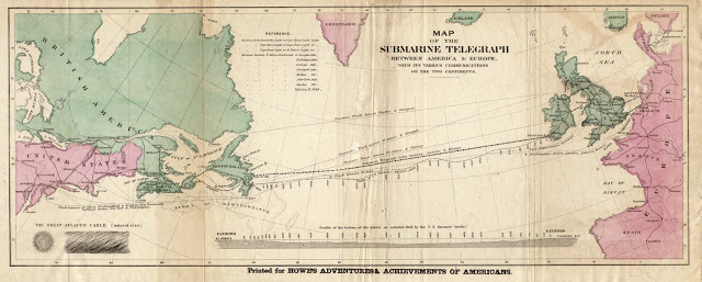 The very first Transatlantic cable was laid in 1854-58 and connected Newfoundland, Canada with Valentia Island, Ireland