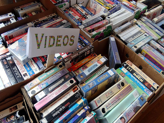 Piles of old VHS tapes - nostalgia of 90s and 80s