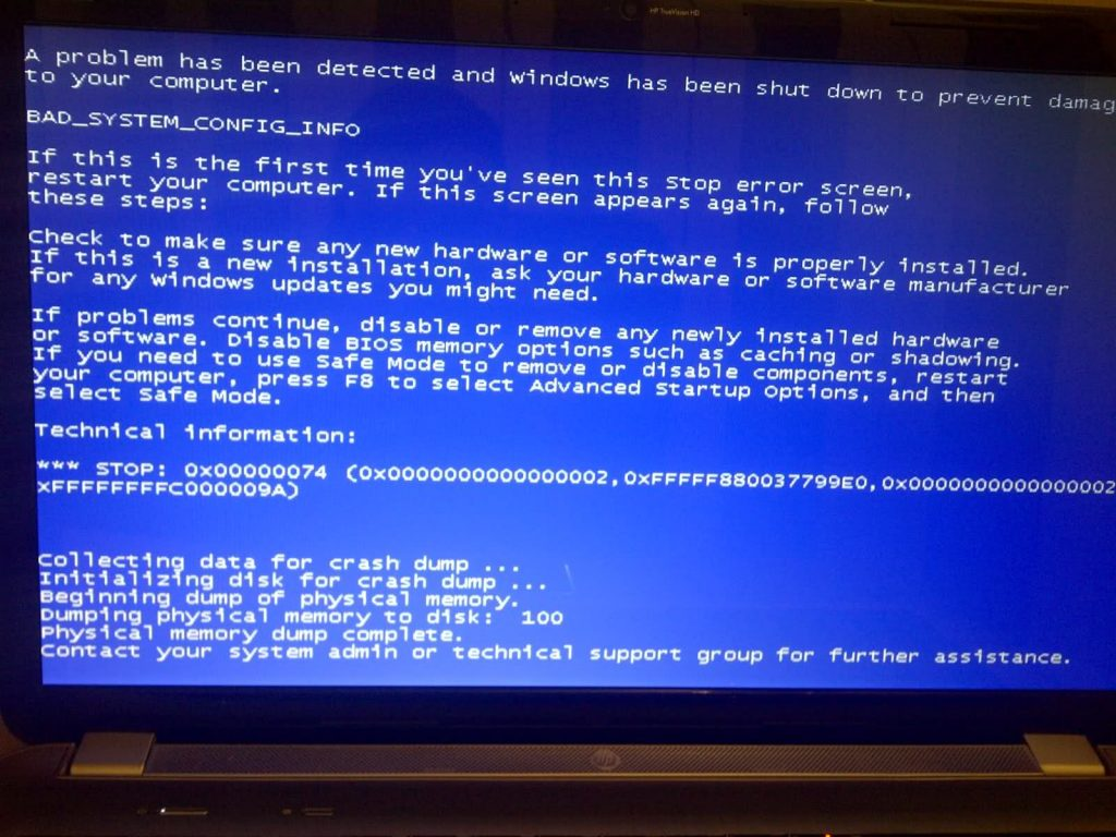 Attempting to boot up and old PC very often end up at this point