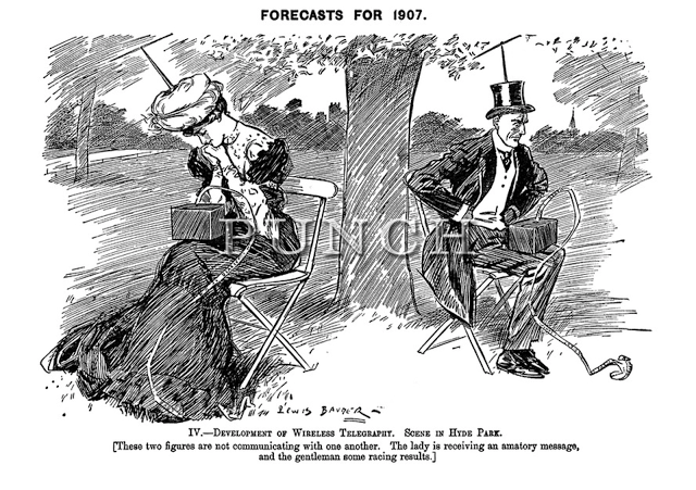 "Early 20th century caricature about ""wireless telegraphy"""